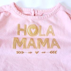 "6-9M Onesie ""Hola Mama"" Rolled Sleeves Spanish"
